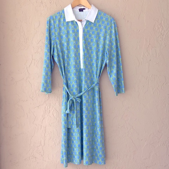 J. McLaughlin geometric blue midi dress XL